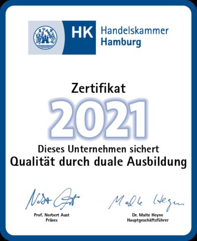 Ausbildungszertifikat Handelskammer für elbehyp 2021